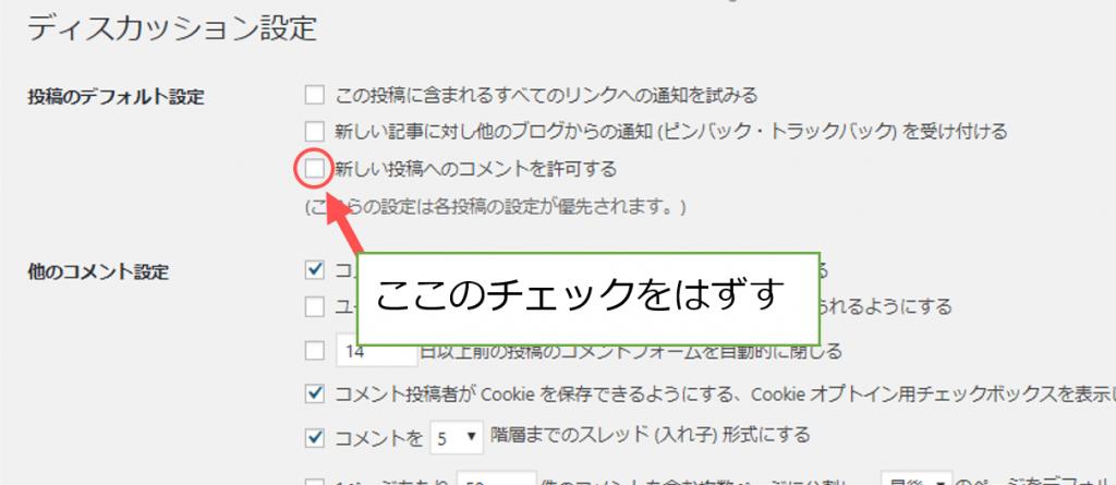 ワードプレス管理画面にあるディスカッションページ。そこの新しい投稿へのコメントを許可するのチェックをはずす。